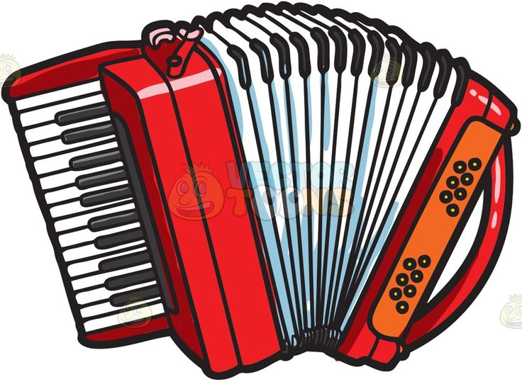 A red accordion with black and white keys » Clipart Station.