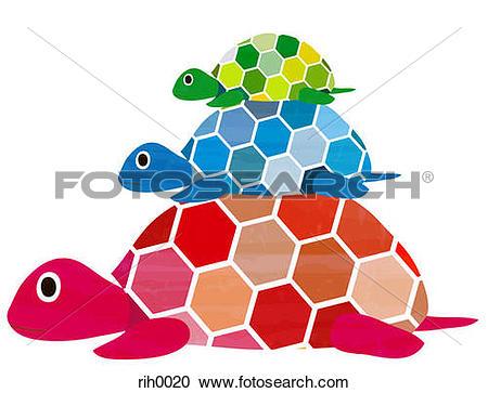 Stock Illustrations of Illustration of three turtles stacked.