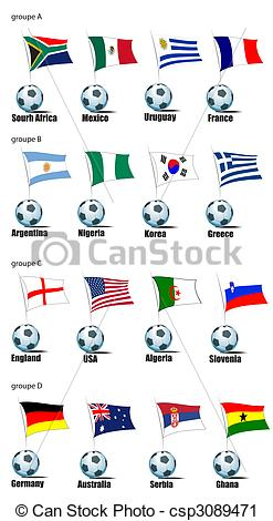 Vector Clip Art of Icons football teams World Cup in 2010.