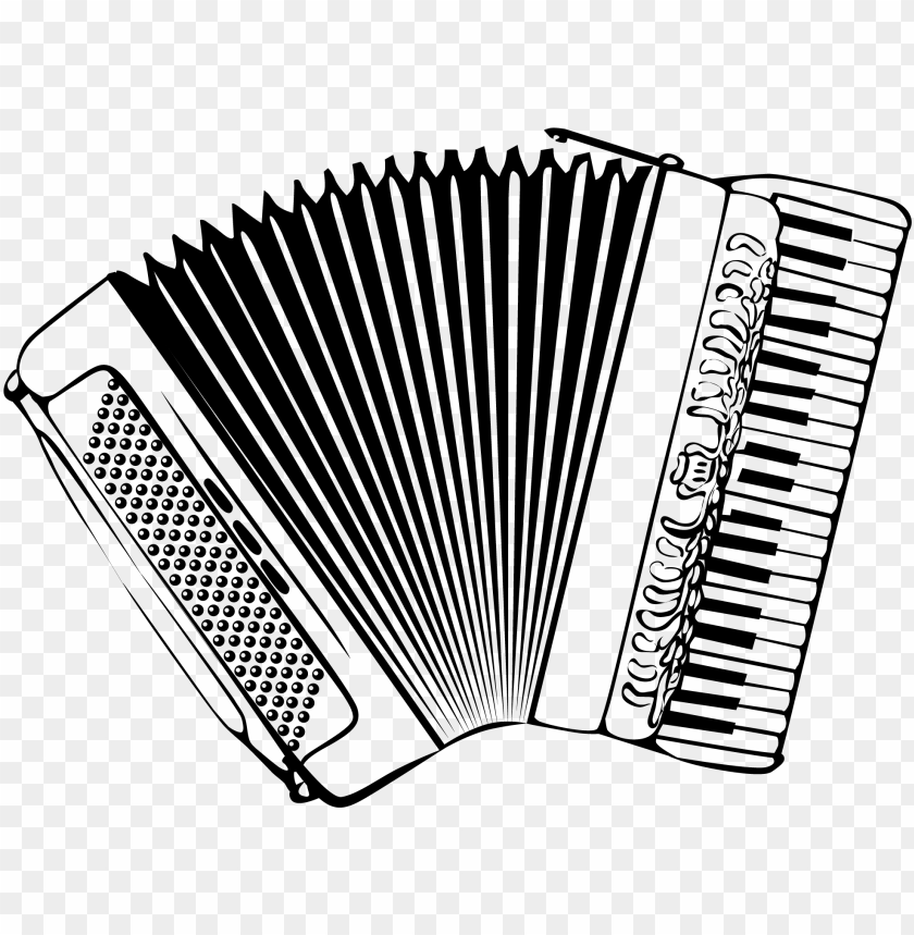 black and white accordion instrument vector clip art.