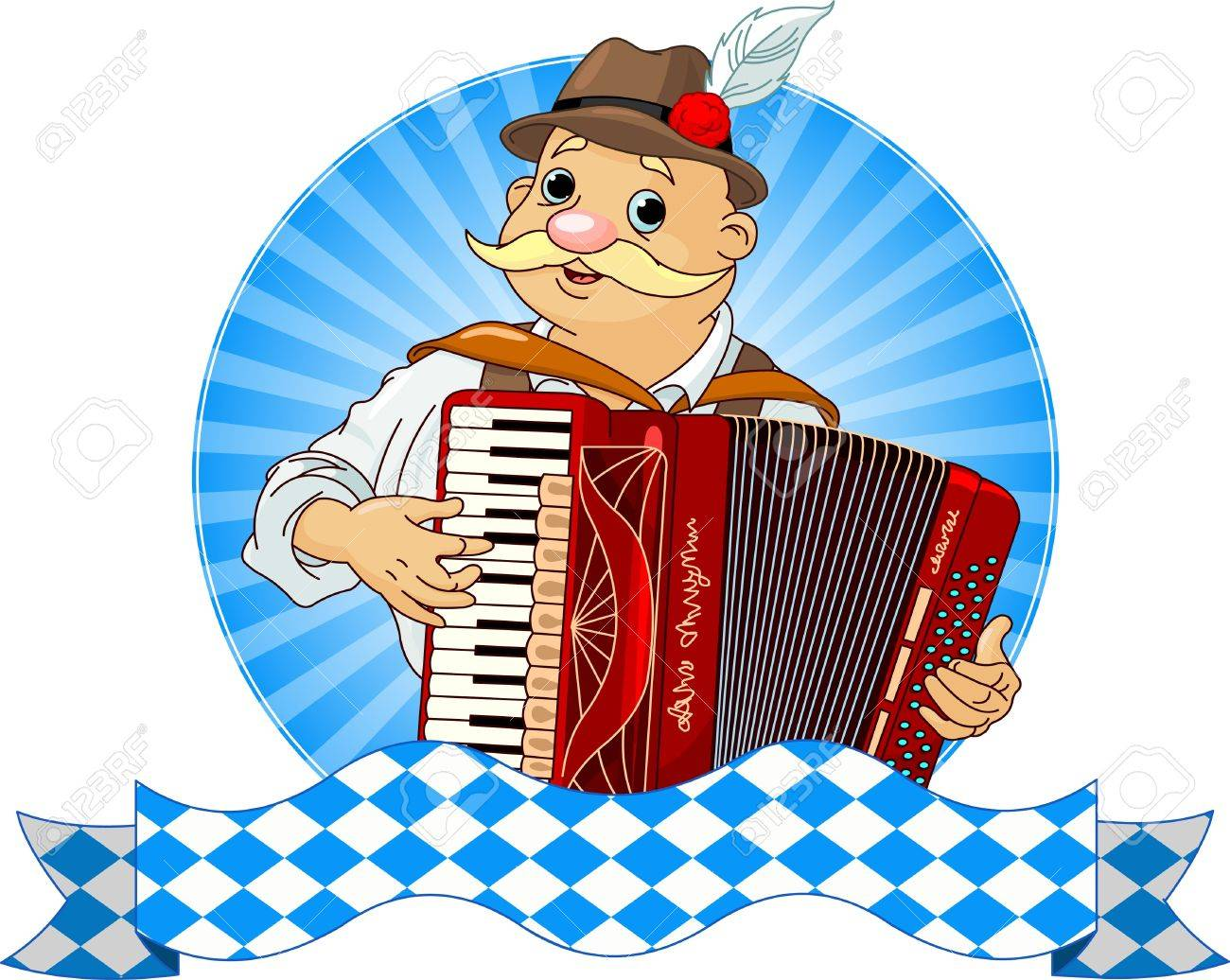 Oktoberfest Accordion Player with stripe for text.