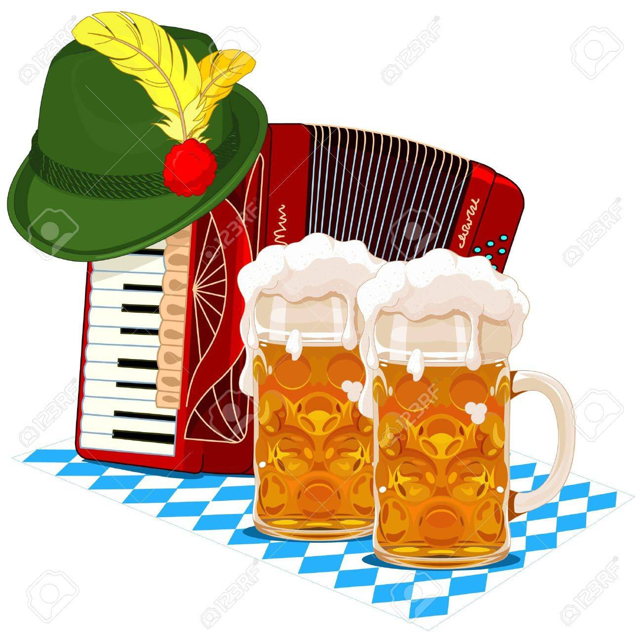 Oktoberfest design with accordion, beer and Bavarian hat.