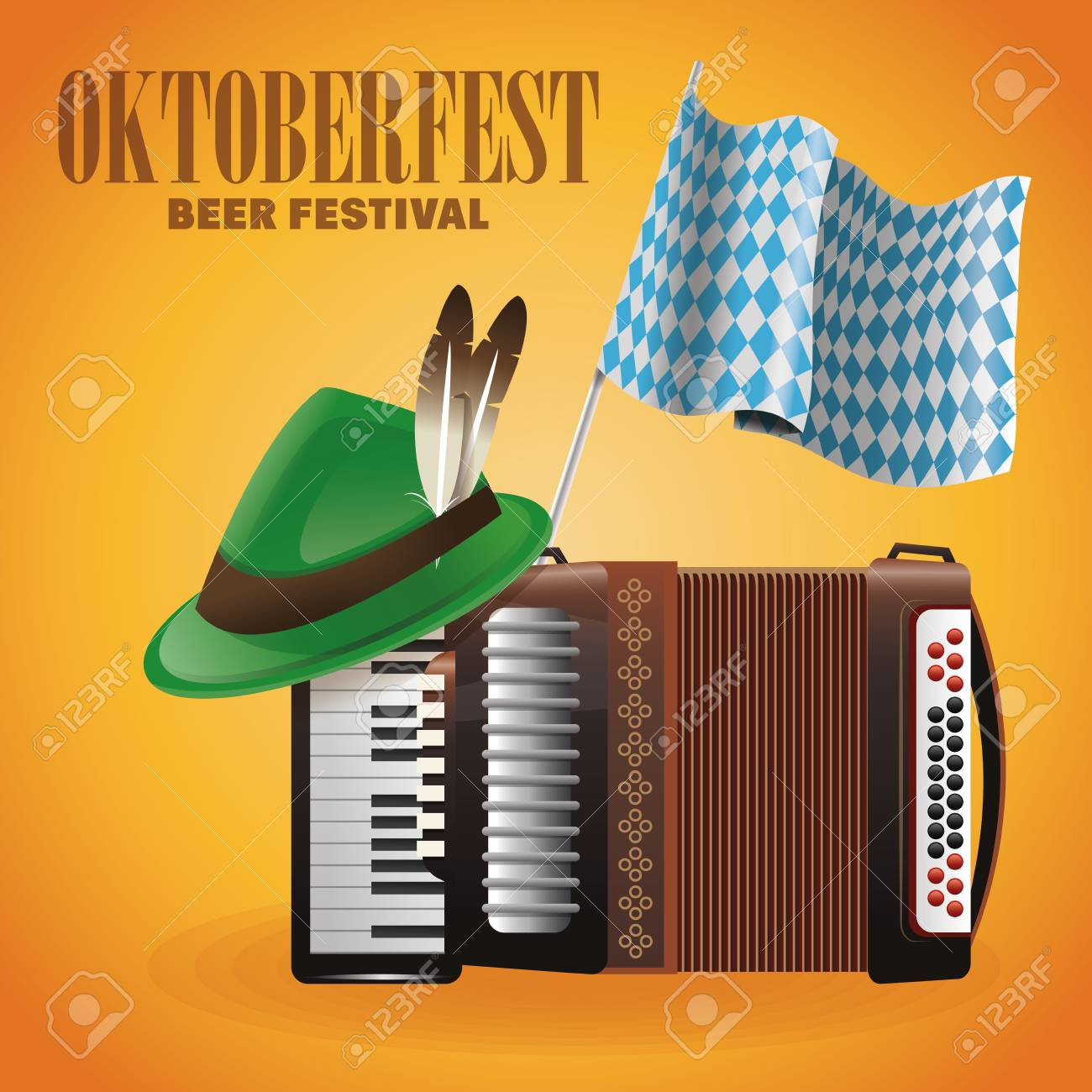 Accordion hat and flag icon. Oktoberfest germany festival and...