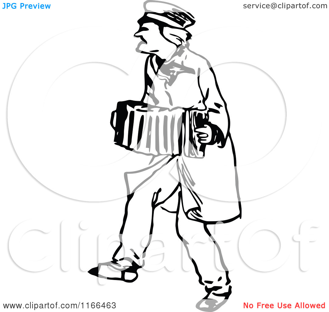 Clipart of a Retro Vintage Black and White Man Playing an.