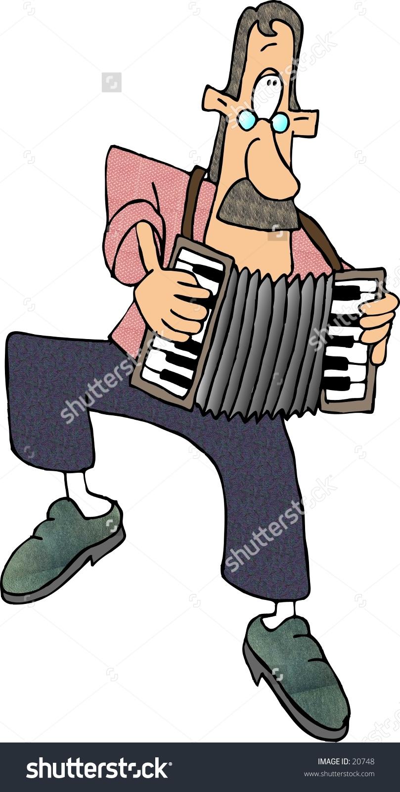 Clipart Illustration Man Playing Accordion Stock Illustration.