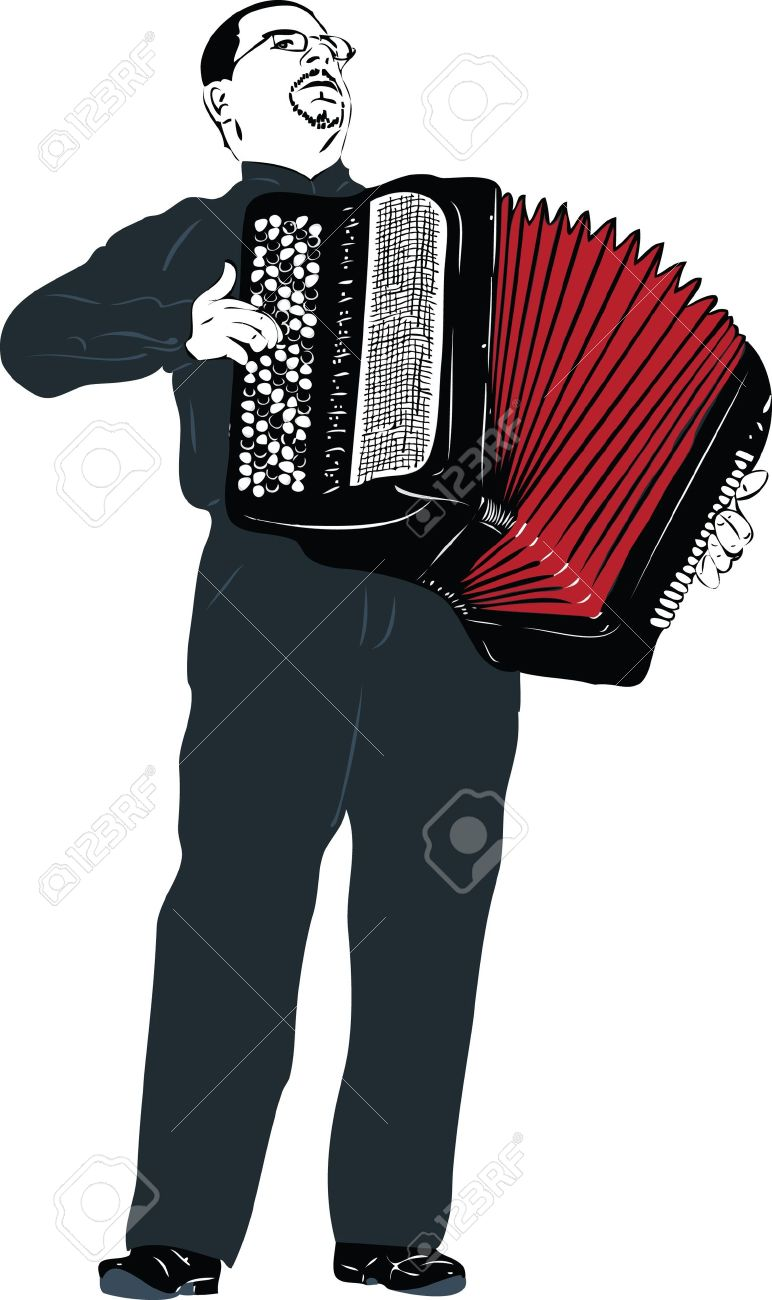 A Image Male Musician Playing The Accordion Royalty Free Cliparts.