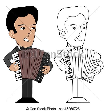 Vector Illustration of Accordionist cartoon.