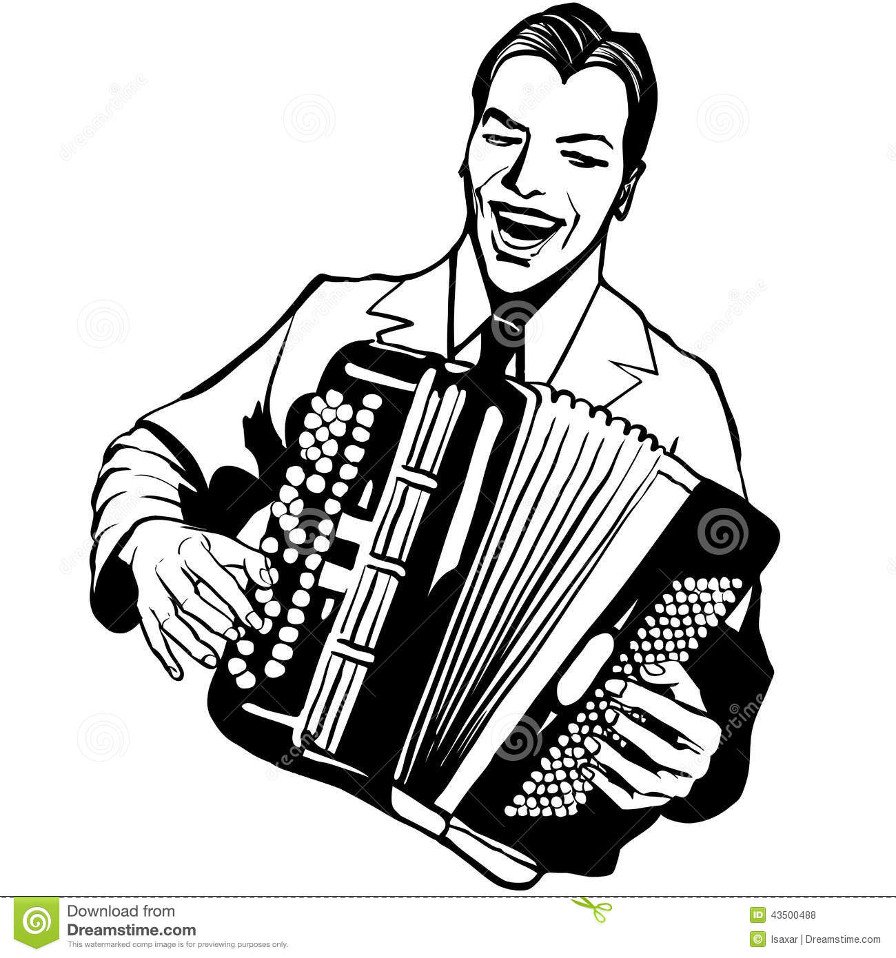 Accordion player clipart.
