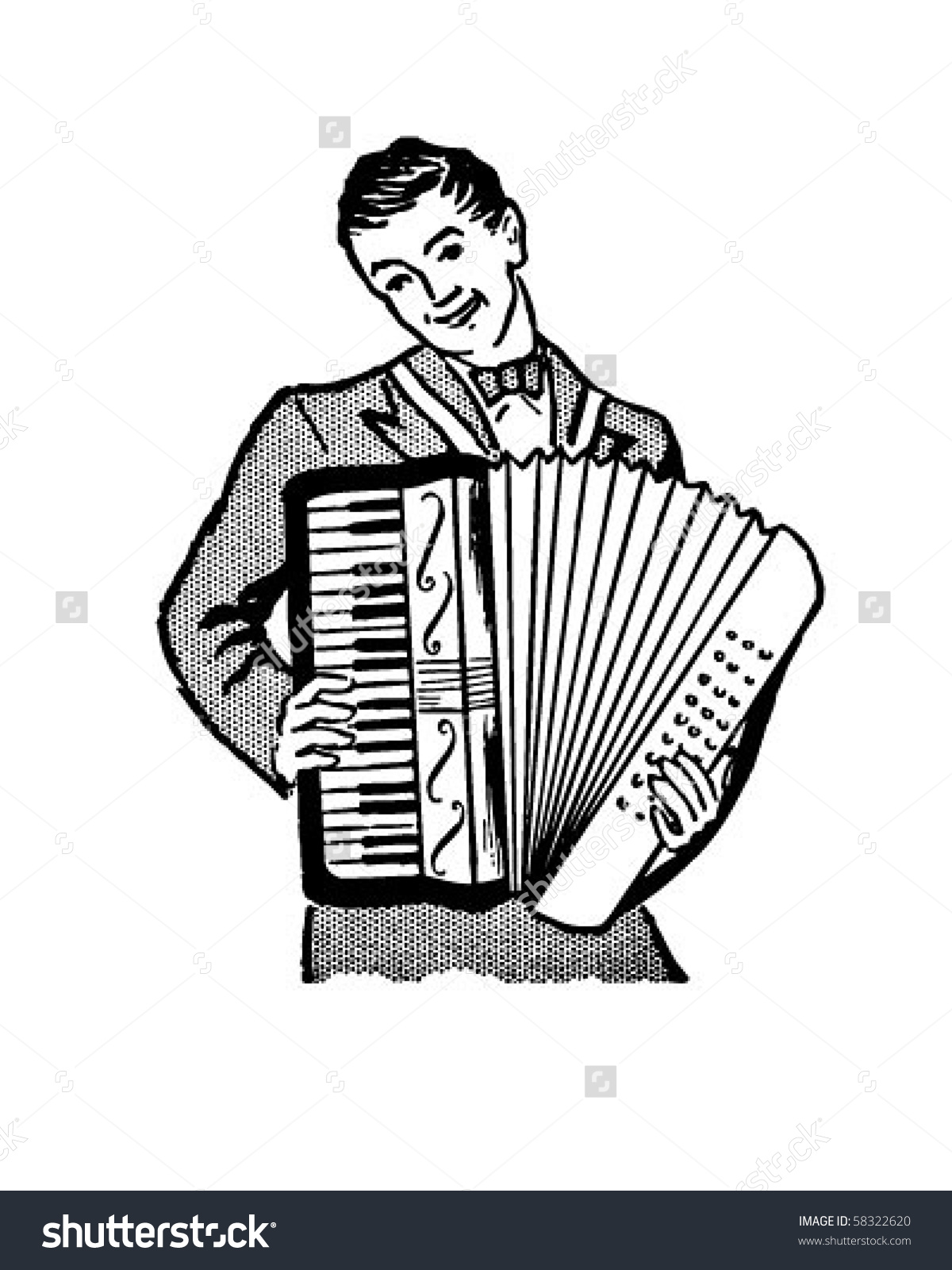 Accordion Player Retro Clip Art Stock Vector 58322620.