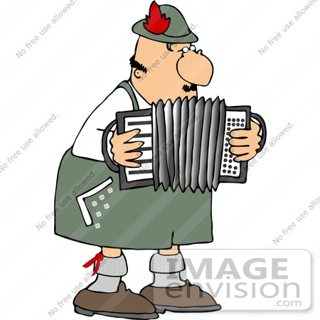 Male German Squeezebox, Accordion, Accordian Player Clipart.
