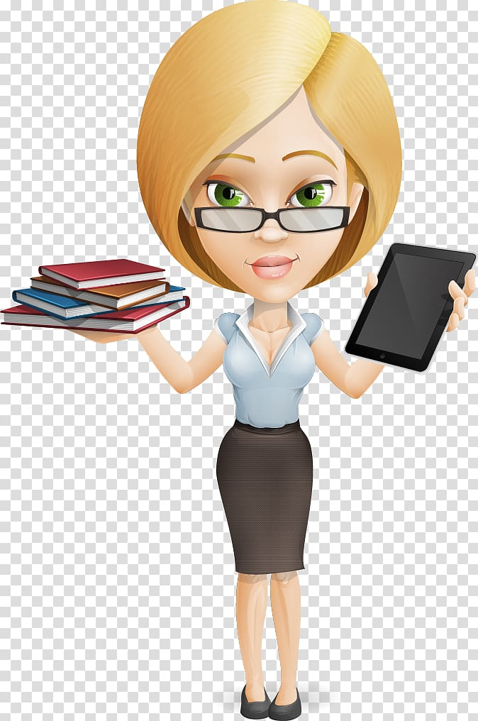 Woman holding pile of books and black tablet computer.