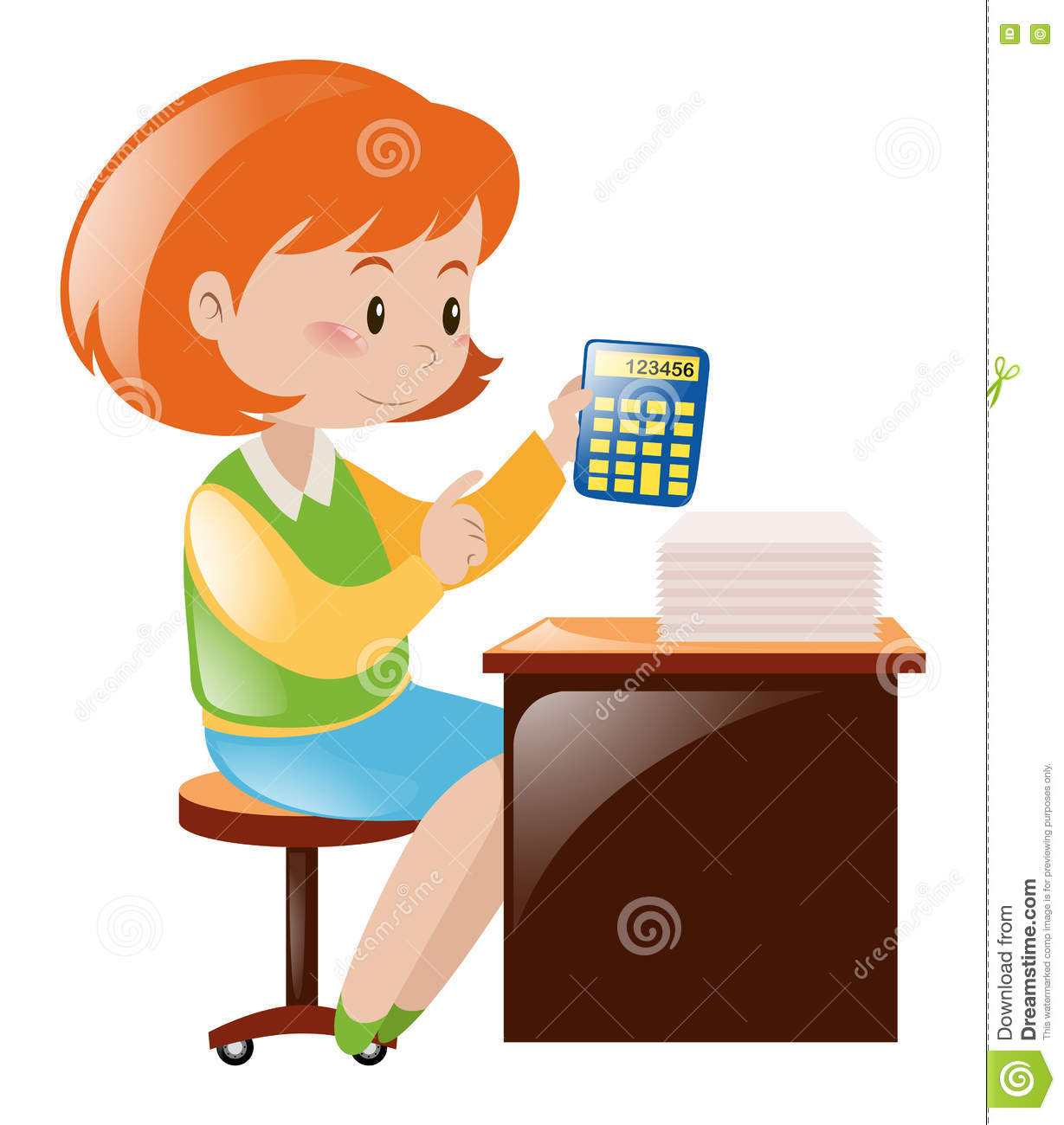 Accountant Calculating Numbers With Calculator Stock Vector.