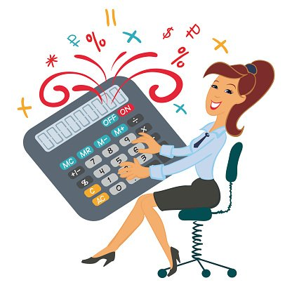 Funny girl playing calculator. Accountant, manager. Clipart.