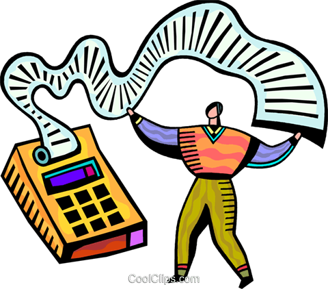 Accountant and his calculator Royalty Free Vector Clip Art.