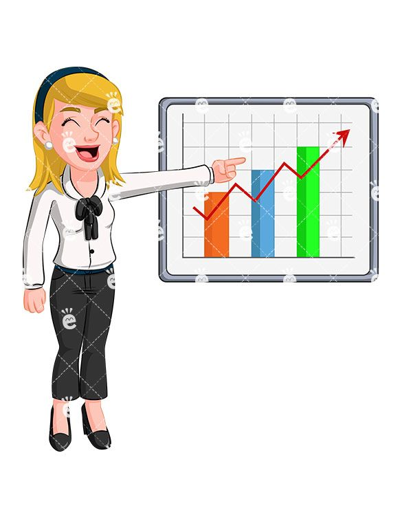 A Delighted Blonde Woman Pointing To A Sales Graph in 2019.