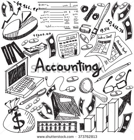 Accounting and financial education handwriting doodle icon.