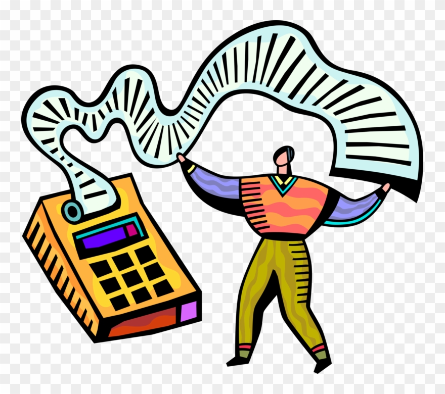 Vector Illustration Of Accountant Bookkeeper Operates.