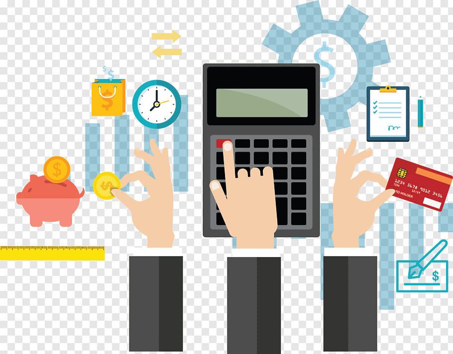 Calculator illustration, Financial accounting Business.
