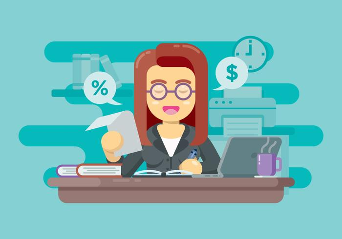 Financial Accountant Making Report Illustration.