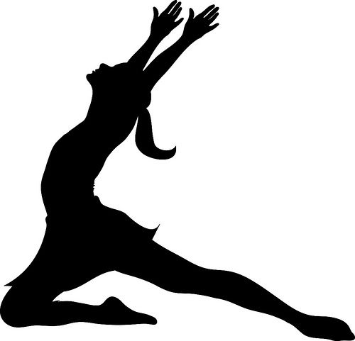 Clip Art Illustration of a Silhouette of a Ballet Dancer.