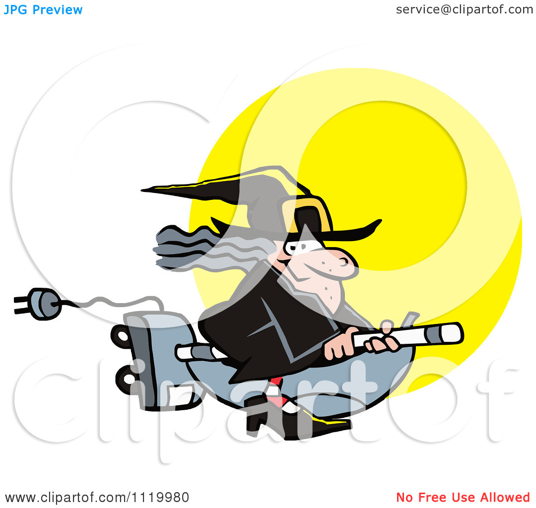 Cartoon Of A Halloween Witch Flying On A Vaccuum Over A Full Moon.