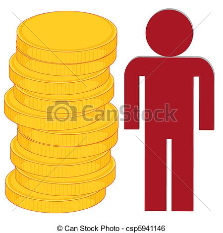 Clip Art Vector of accumulation of wealth.