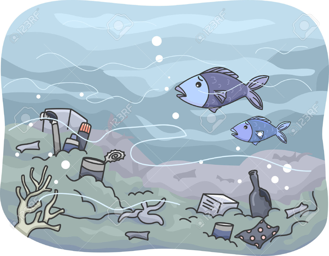 Illustration Featuring Trash That Has Accumulated Under The Sea.