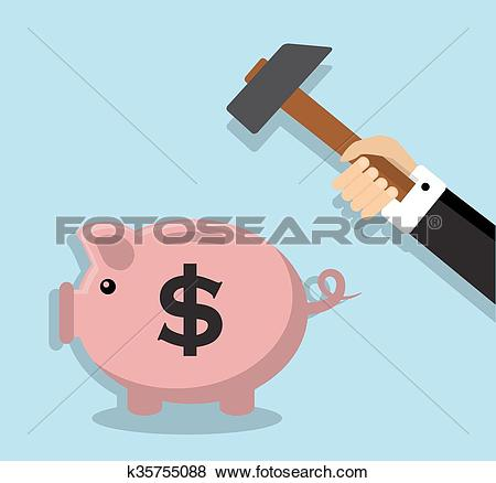 Clip Art of Removing accumulated money k35755088.