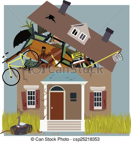Clipart Vector of Hoarder House.
