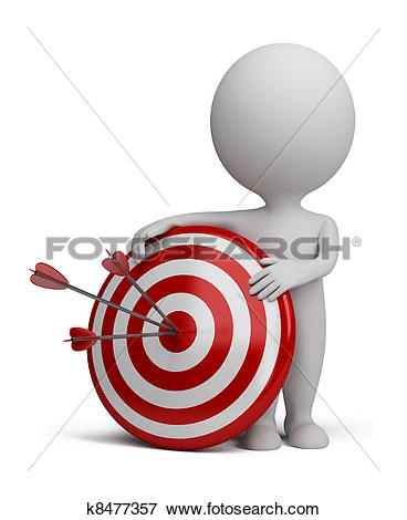 Clip Art of Dartboard with colorful darts. Hitting A Target.