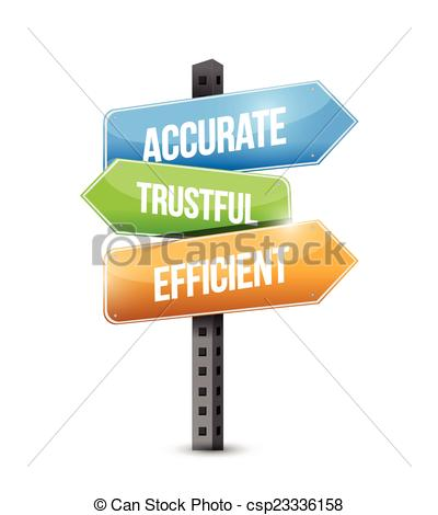 Clipart Vector of accurate trustful, efficient, sign illustration.