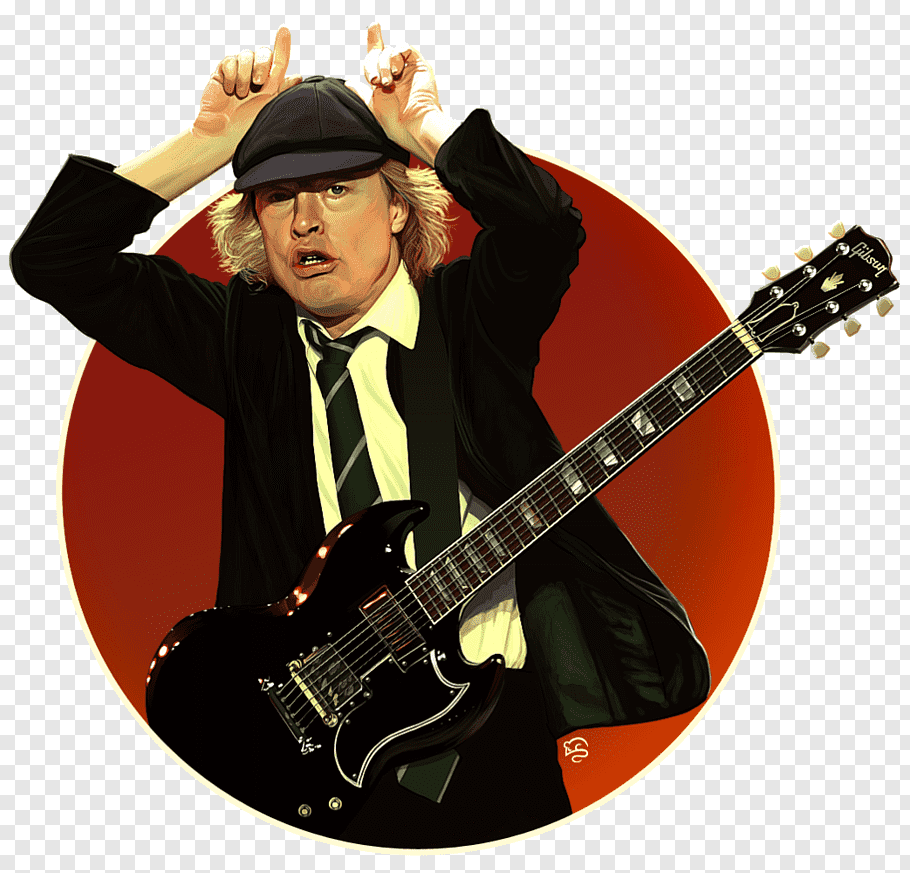 Man with suit jacket playing guitar, Angus Young AC/DC.