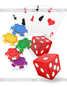 Casino items cards ace and chips dice.