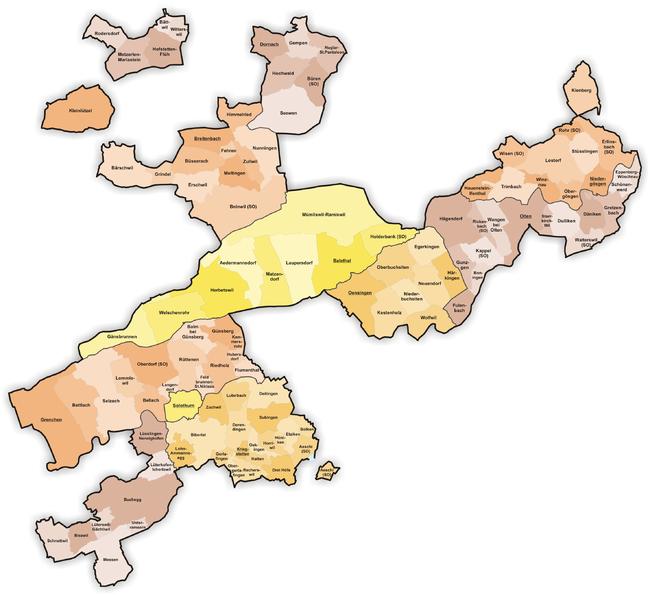 Lista över Schweiz kantoner, amt, distrikt och kommuner.