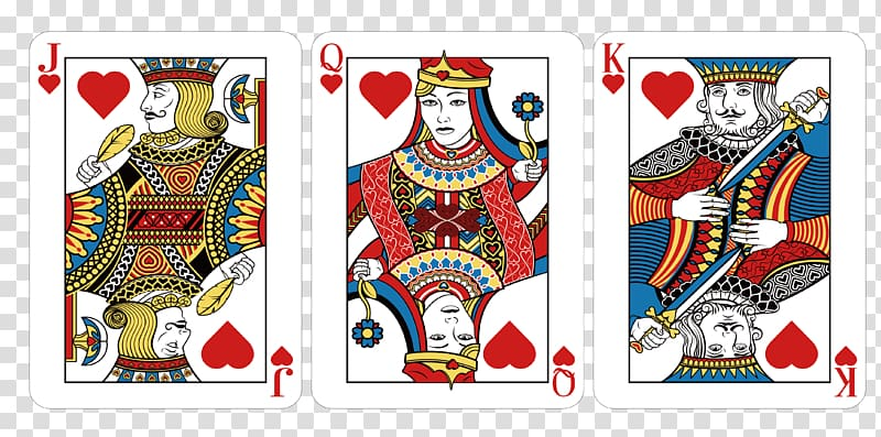 Jack, Queen and King of hearts playing cards, Playing card.
