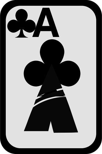 Ace of Clubs funky playing card vector clip art.