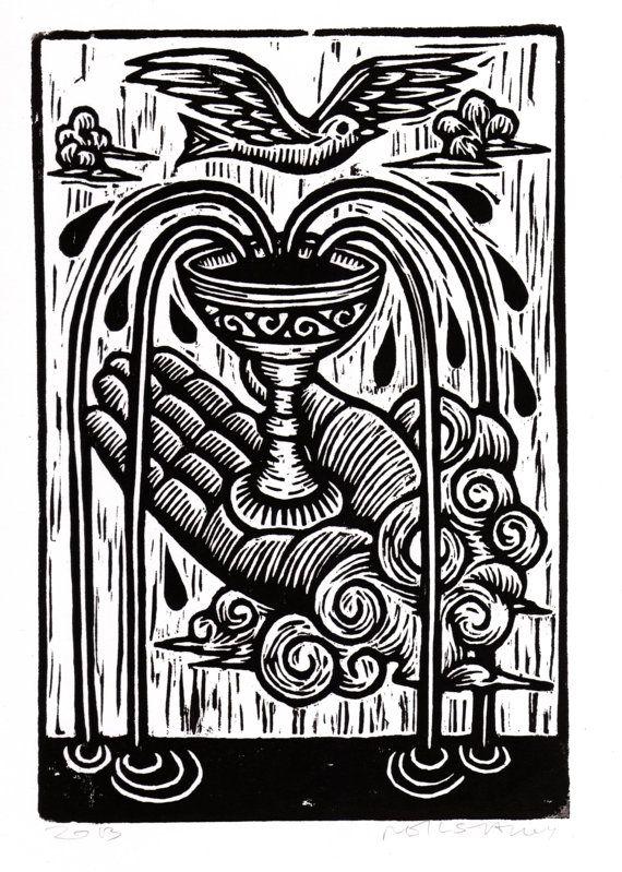 Tarot Card Linocut Art Print.