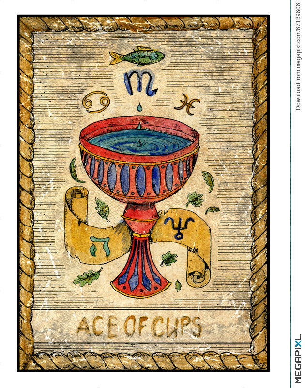 Old Tarot Cards. Full Deck. Ace Of Cups Illustration.