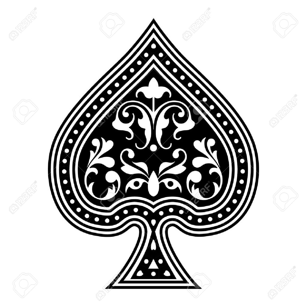 An ornate playing card spade.