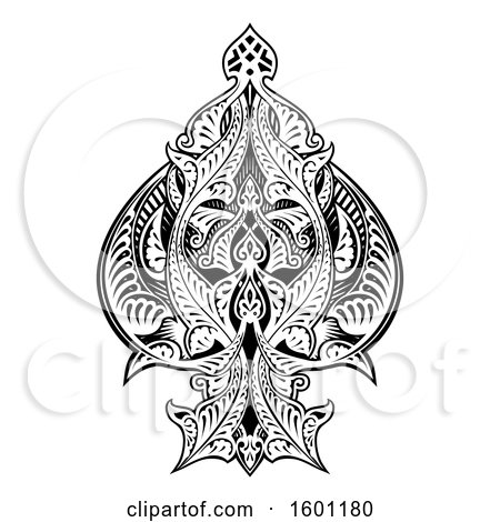 Clipart of a Black and White Ace of Spades Design.