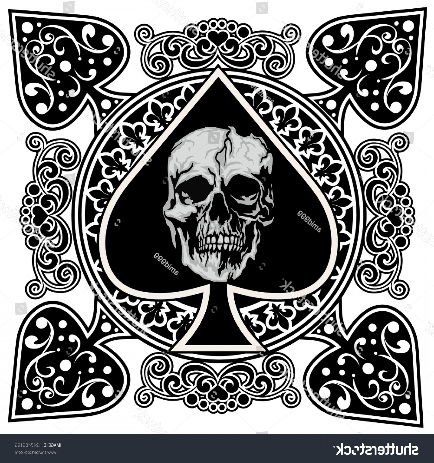 Playing Card Ace Spades Skull.