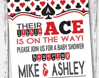 Ace Baby Shower Invitation, Playing card invite, casino baby.