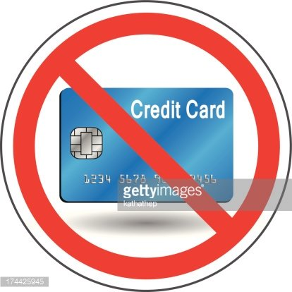 not accept credit card Clipart Image.