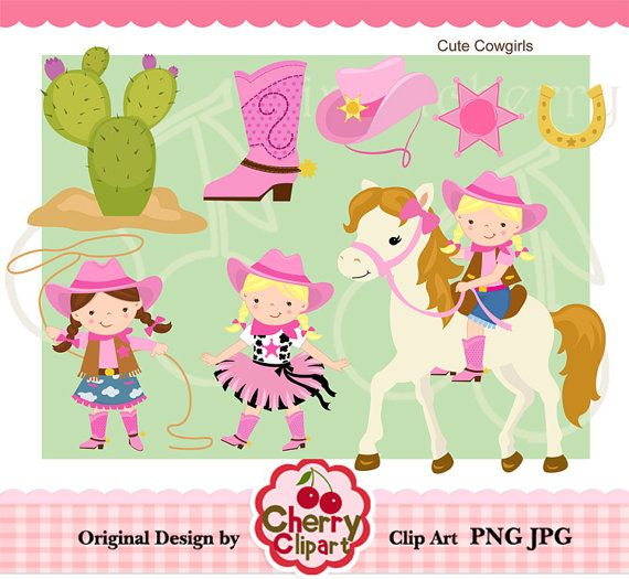 Cowgirl Clip art Set for.