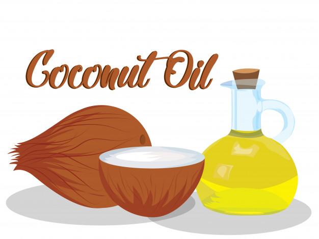 Vector de aceite de coco sobre fondo blanco.