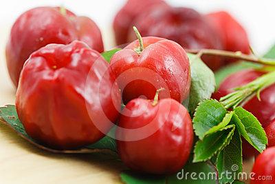 Acerola Cherry Fruit Stock Photo.