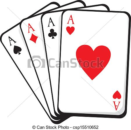 Clipart Vector of four aces. vector illustration csp15510652.