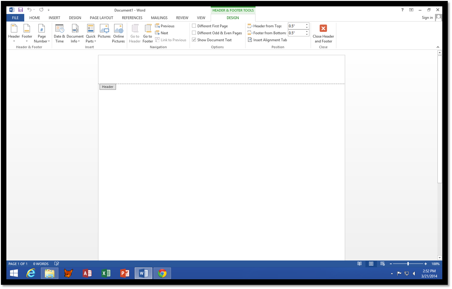 How to Access the Header Area in Microsoft Word 2013.