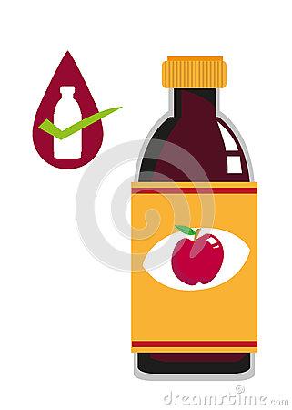 Apple Cider Vinegar Bottle Concept. Editable Clip Art. Stock.