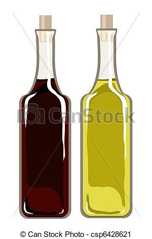 Clipart vettoriali di oliva, aceto, balsamic, olio.